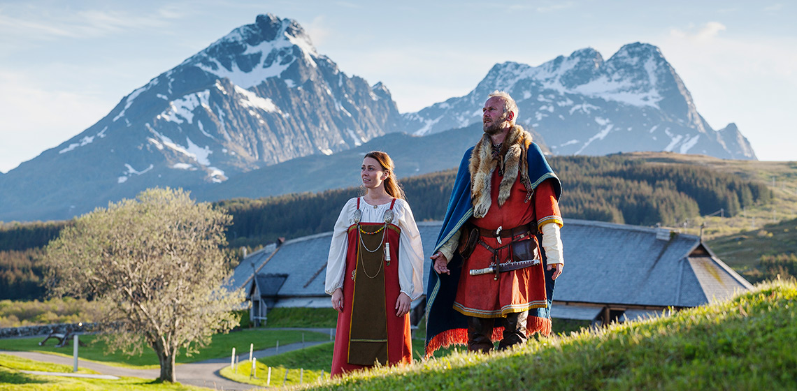 The Jubilee Year of 2020 at Lofotr Viking Museum. The chieftain and wife. Photo by Kjell Ove Storvik
